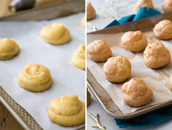 How to make choux pastry: before and after baking