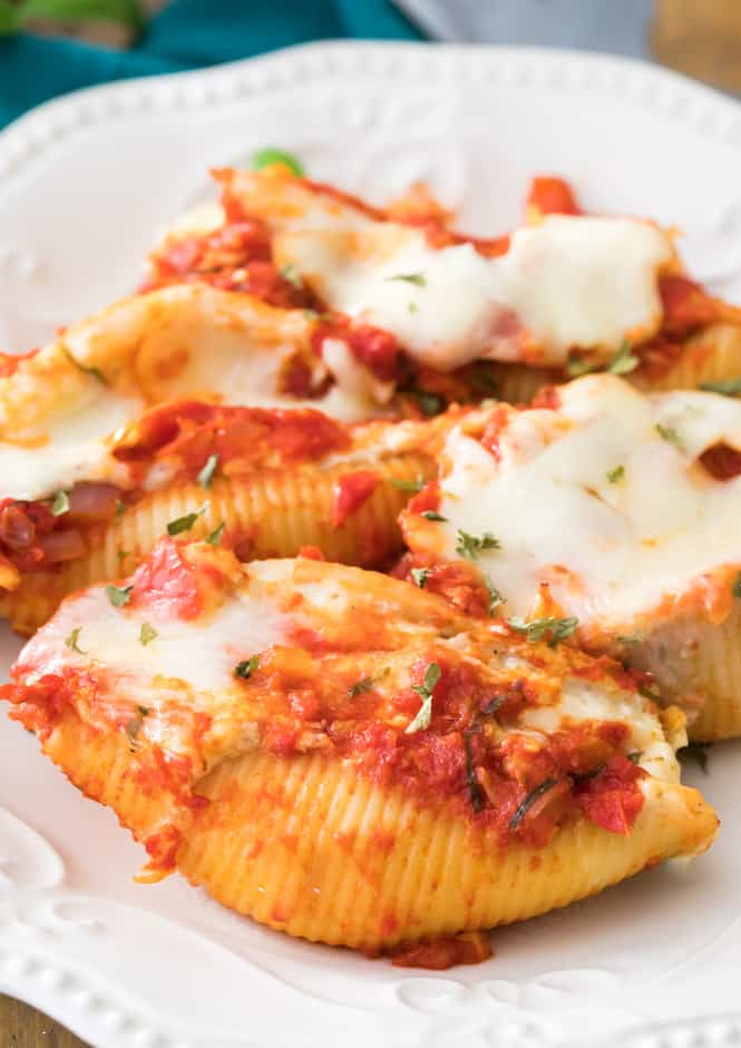 Stuffed Shells on white plate, vegetarian dinner option for lent